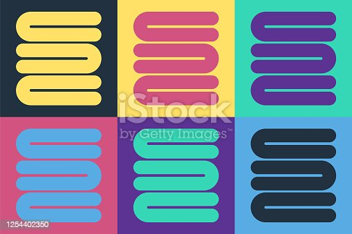 Pop art Towel stack icon isolated on color background. Vector Illustration