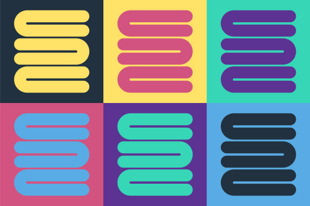 ポップアートタオルスタックアイコンは、色の背景に分離されています。ベクトルの図 - 体 洗う点のイラスト素材/クリップアート素材/マンガ素材/アイコン素材