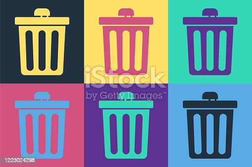 Pop art Trash can icon isolated on color background. Garbage bin sign. Recycle basket icon. Office trash icon. Vector Illustration
