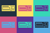 Pop art Travel ticket icon isolated on color background. Train, ship, plane, tram, bus transport. Travel service concept. Vector Illustration