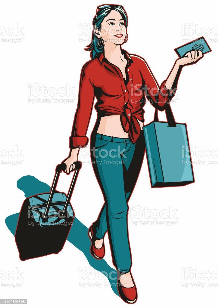 Pop art traveller Woman vector art illustration