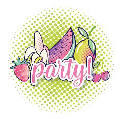 pop art tropical fruits watermelon strawberry mango cherry halftone