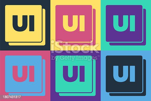 istock Pop art UI or UX design icon isolated on color background. Vector 1307431317