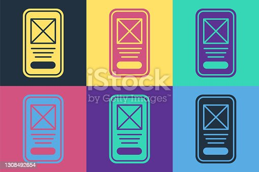 istock Pop art UI or UX design icon isolated on color background. Vector 1308492654