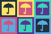 Pop art Umbrella icon isolated on color background. Waterproof icon. Protection, safety, security concept. Water resistant symbol. Vector Illustration
