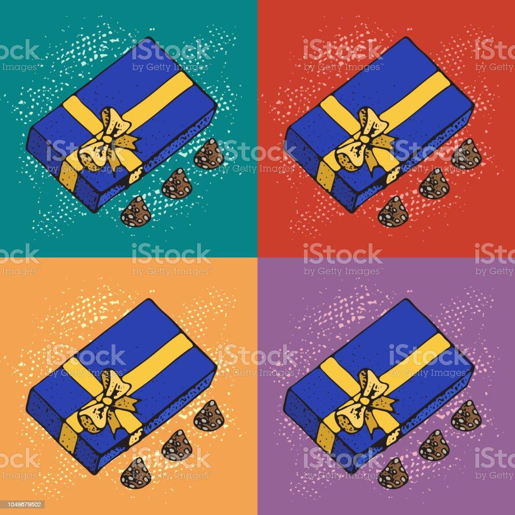 Pop Art Vector Illustration Von Geschenkboxen Mit Schokolade Kandis ...