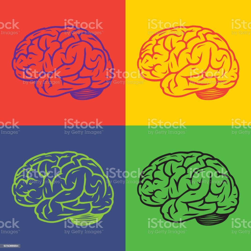 Pop art vector illustration of side view human brain arte vetorial pop art vector illustration of side view human brain pop art vector illustration of side view ccuart