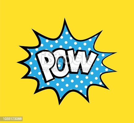 Pop art vector sticker with phrase Pow, polka dots explosion on background