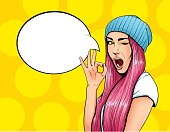 Pop Art Vintage advertising poster comic girl with speech bubble. Pretty girl giving ok gesture