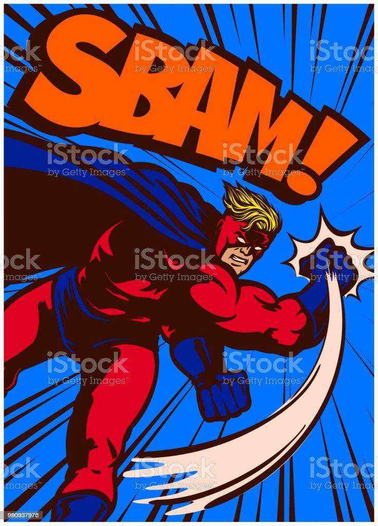 Pop art vintage comic book style superhero in action punching vector illustration vector art illustration