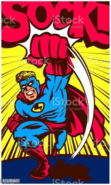 Pop art vintage comic book superhero throwing punch vector vector id975205632?b=1&k=6&m=975205632&s=612x612&h=g7ftcfxqturxqninnplle 3hv41nc2fe2n0eqjah7o0=