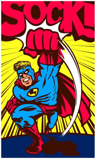 Pop art vintage comic book superhero throwing punch vector illustration vector art illustration