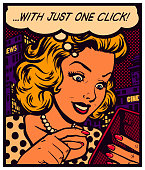 Pop art vintage comic book style woman texting, messaging, surfing website or using app on a smartphone with speech bubble, simple user experience concept vector illustration