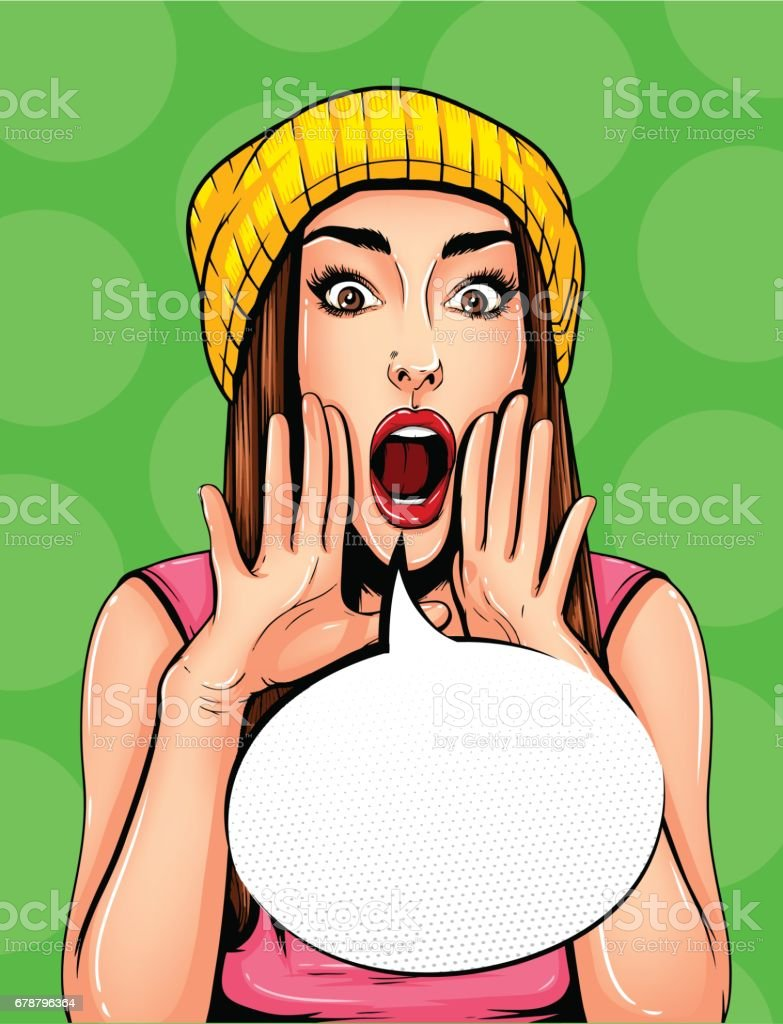 Pop Art Vintage poster comic girl with speech bubble. Pretty girl announcing, telling a secret, shouting or yelling vector art illustration