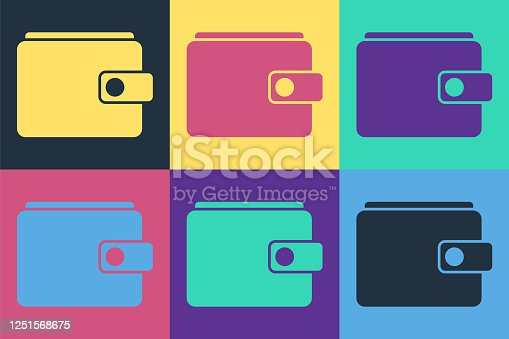 istock Pop art Wallet icon isolated on color background. Purse icon. Cash savings symbol. Vector Illustration 1251568675