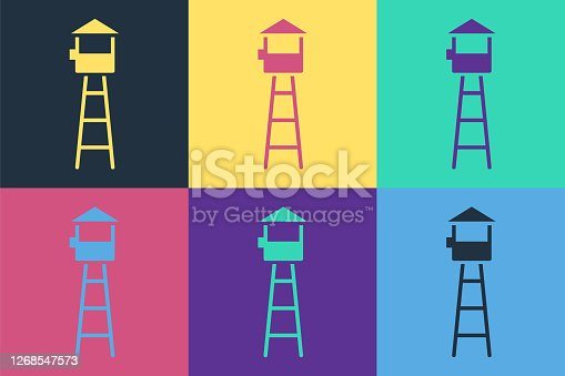 Pop art Watch tower icon isolated on color background. Prison tower, checkpoint, protection territory, state border, military base. Vector Illustration