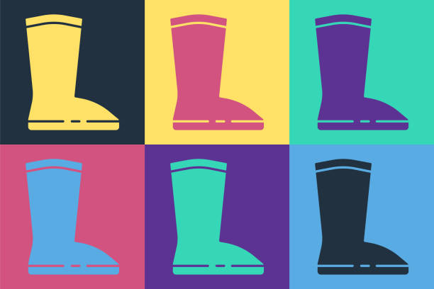 ilustrações de stock, clip art, desenhos animados e ícones de pop art waterproof rubber boot icon isolated on color background. gumboots for rainy weather, fishing, gardening. vector illustration - wellington
