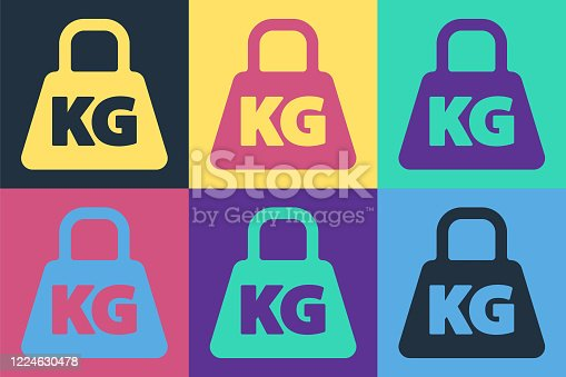 Pop art Weight icon isolated on color background. Kilogram weight block for weight lifting and scale. Mass symbol. Vector Illustration