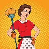 Pop Art woman comic style attack bacteria