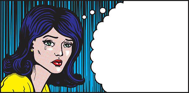 stockillustraties, clipart, cartoons en iconen met pop art woman crying thought - liefdesverdriet