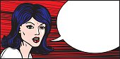 Emotional woman's face with blank speech bubble. Pop art style