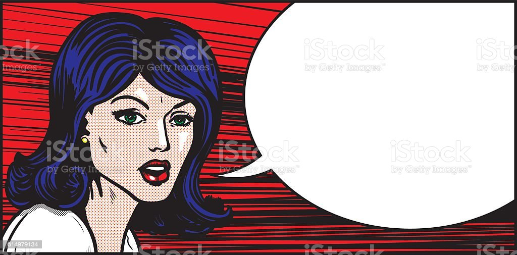 Pop art woman emotional speech vector art illustration