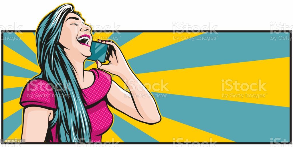 Pop art Woman Laughing on the Phone vector art illustration