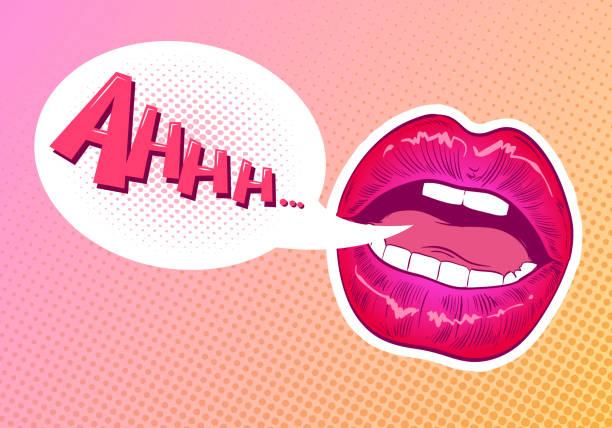 Lèvres de pop art de femme. Style bande dessinée Speech bubble. Illustration vectorielle dessinés à la main. - Illustration vectorielle