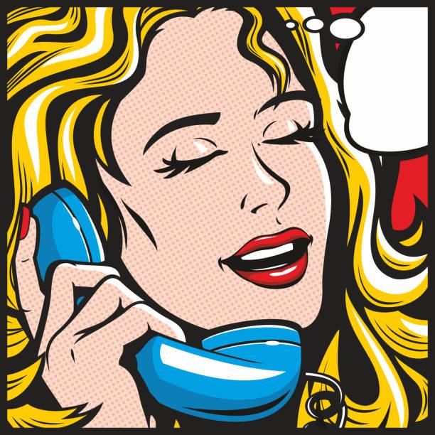 Pop Art Woman On Phone vector art illustration