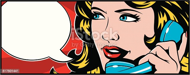 Woman talking on the phone. Pop art style.