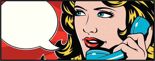 Woman talking on the phone. Pop art style.