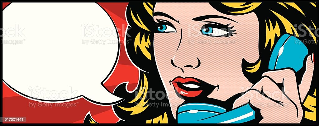 Pop art Woman On Phone vector art illustration