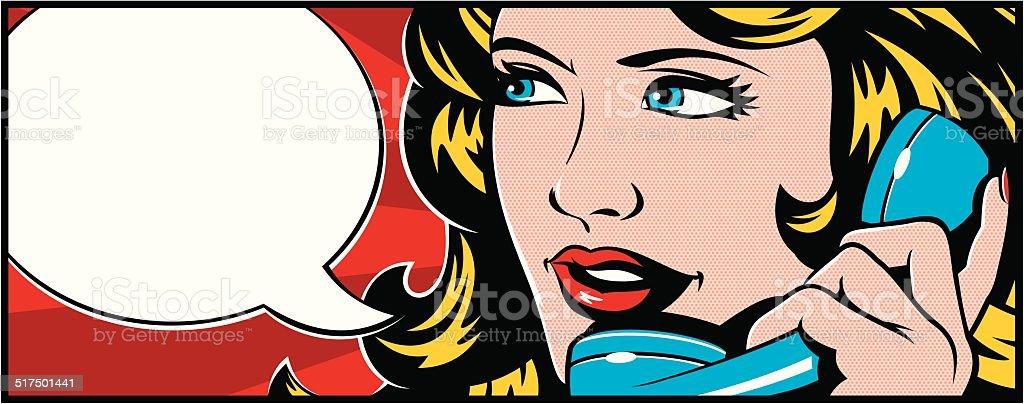 Arte Pop mujer en el teléfono - ilustración de arte vectorial