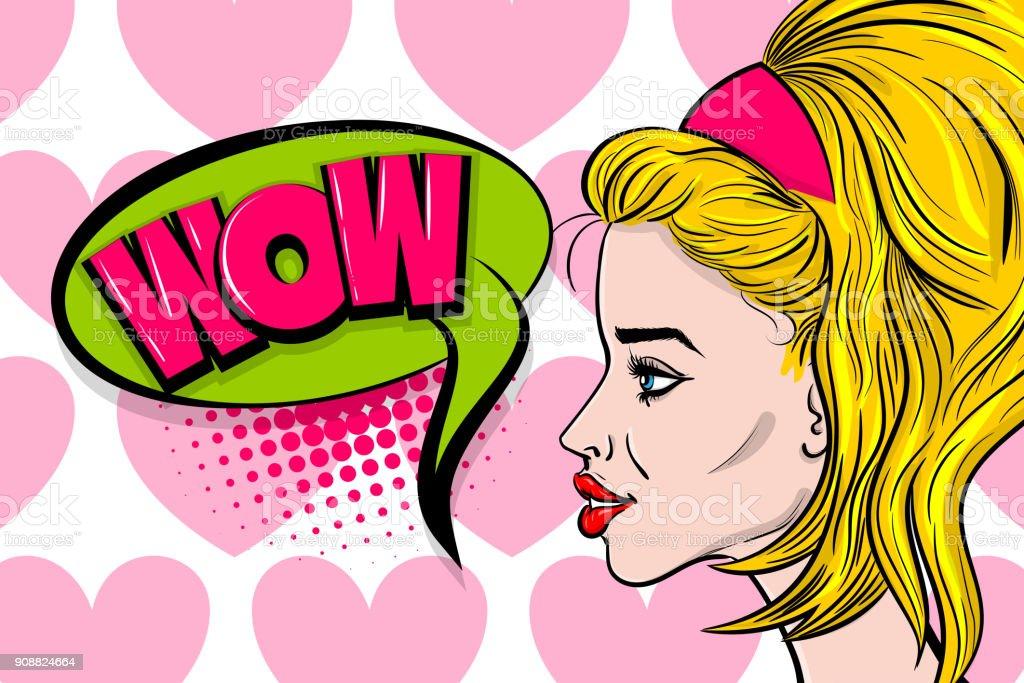 Pop art woman profile fashion face vector art illustration