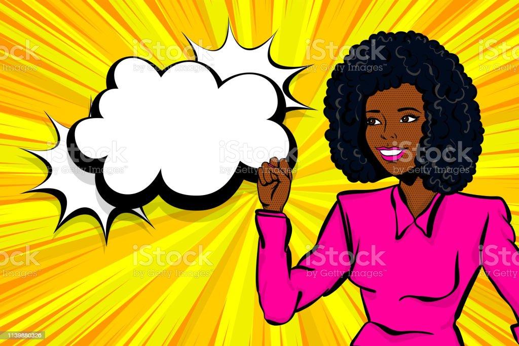 Cartoon pop art style woman right. Retro pin up black african girl....