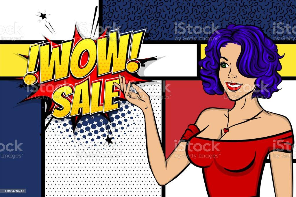 Vintage blue hair pop art girl shopping. Halftone pattern comic book...