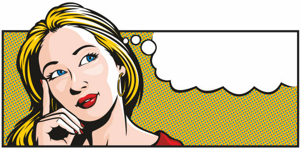Pop Art Woman Thinking vector art illustration