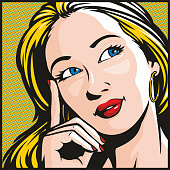 Retro pop art illustration of a pretty woman deep in thought.