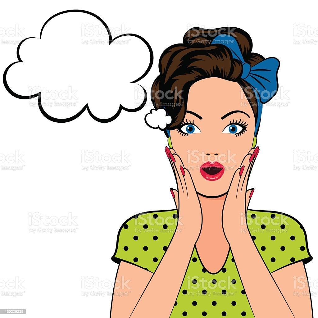 Pop art woman with speech bubble vector art illustration
