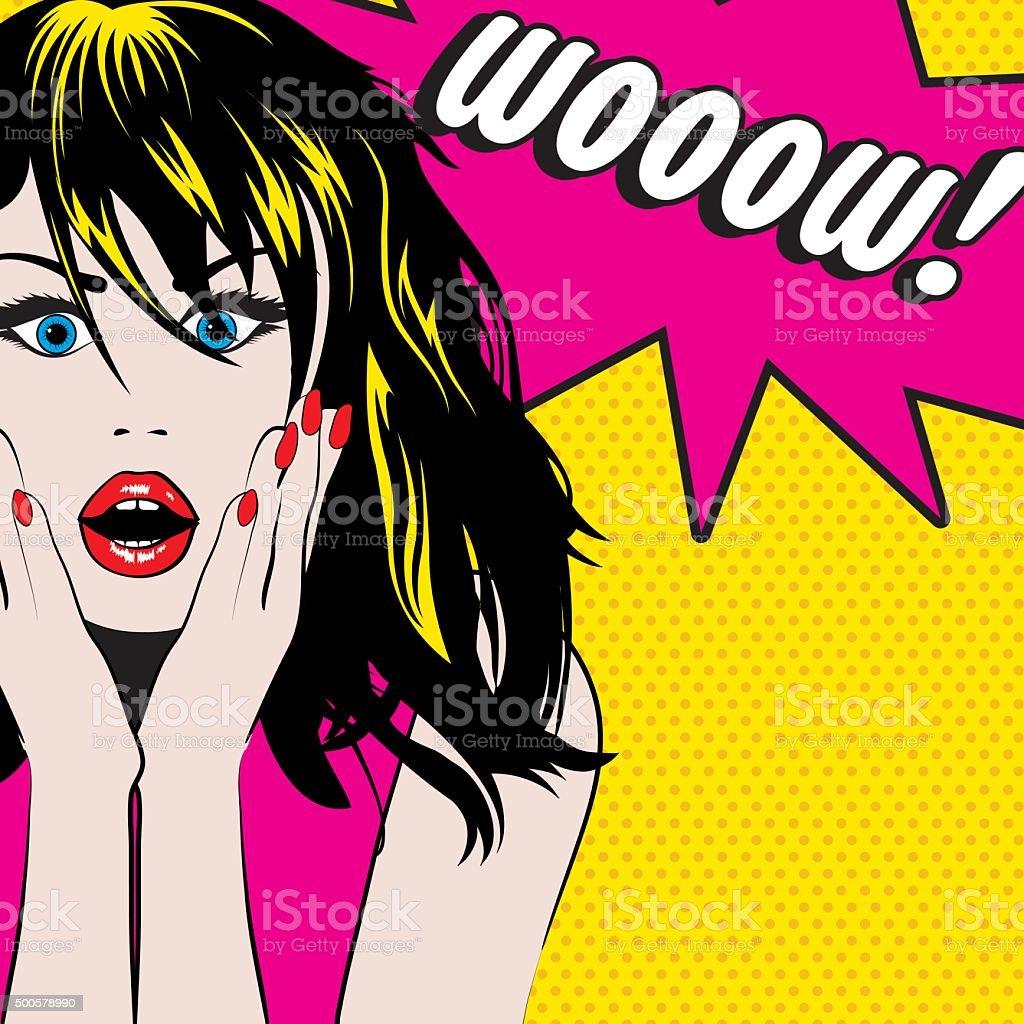 Pop Art Woman WOW sign. vector illustration