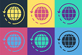 istock Pop art Worldwide shipping and cardboard box icon isolated on color background. Vector Illustration 1253645762