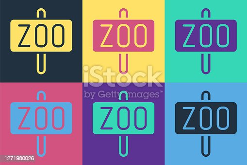 Pop art Zoo park icon isolated on color background. Vector.