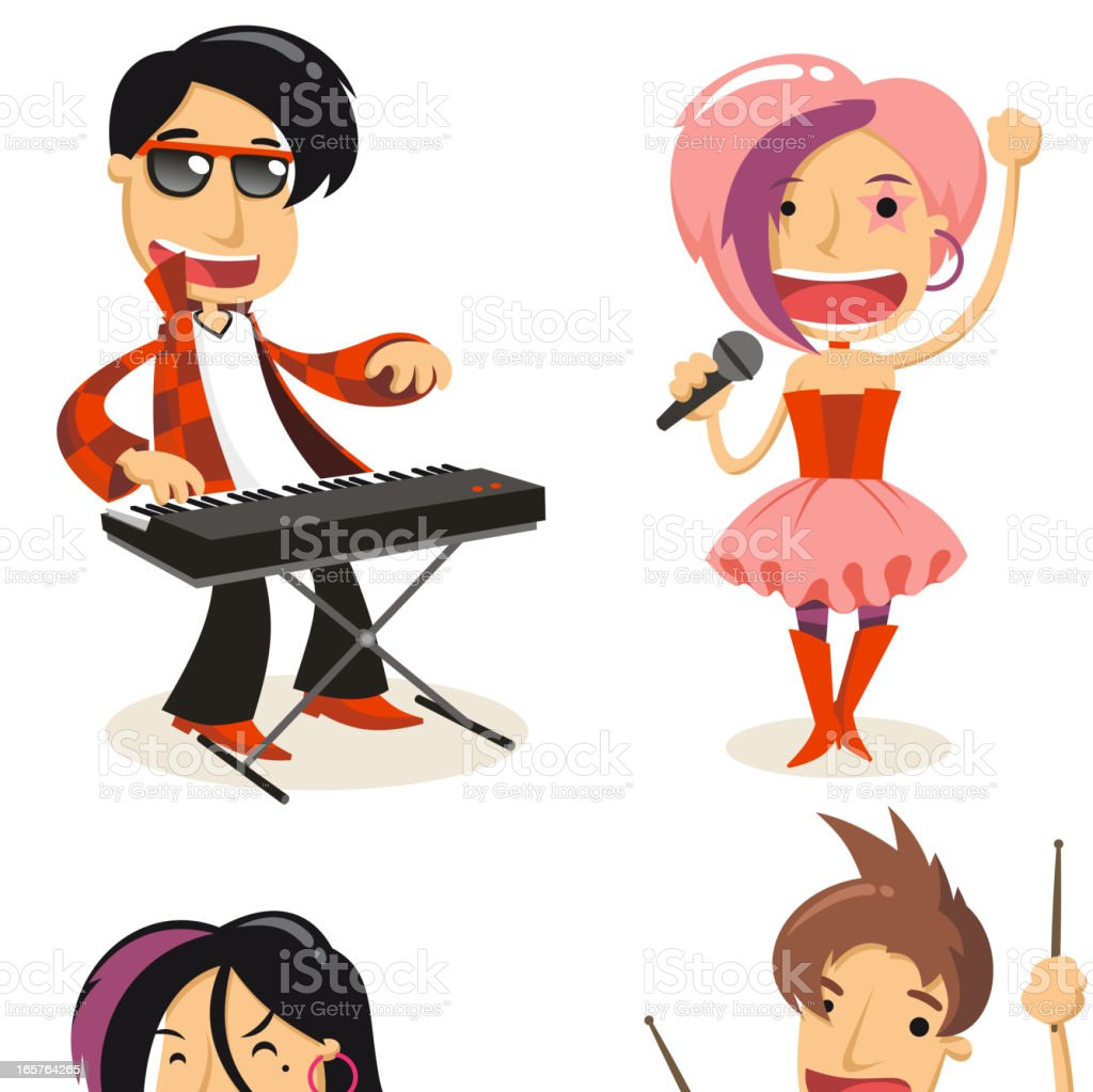 Pop Band set vector art illustration