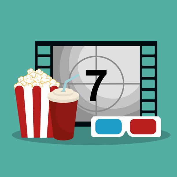 popcorn-kino-enterainment - küchensystem stock-grafiken, -clipart, -cartoons und -symbole