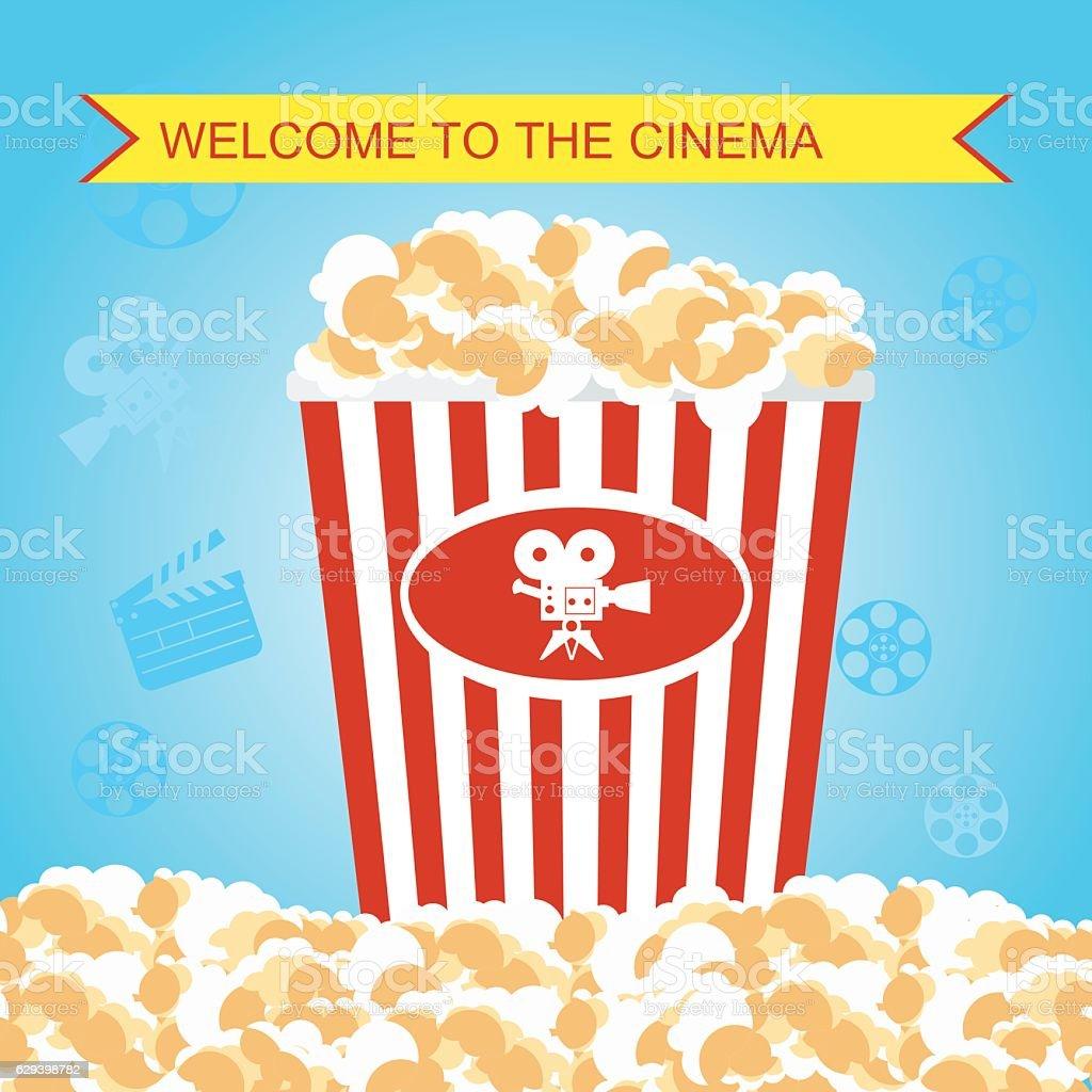 Pop Corn In Red Box Poster Stock Vektor Art Und Mehr Bilder Von