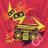 Crazy music graphics with boombox and music cassette.