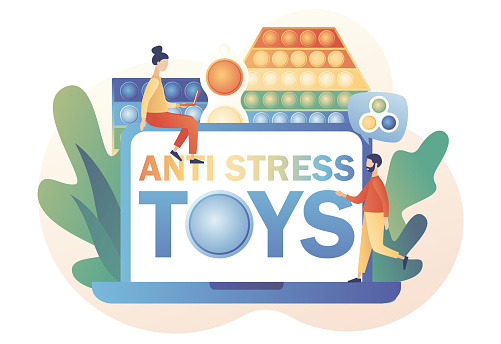 Pop it and Simple dimple. Antistress toys - text on laptop screen. Trendy fidget sensory. Tiny people play hand colorful toy with push bubbles. Modern flat cartoon style. Vector illustration