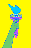 Statue of liberty Hand holding her torch with pop colors.
