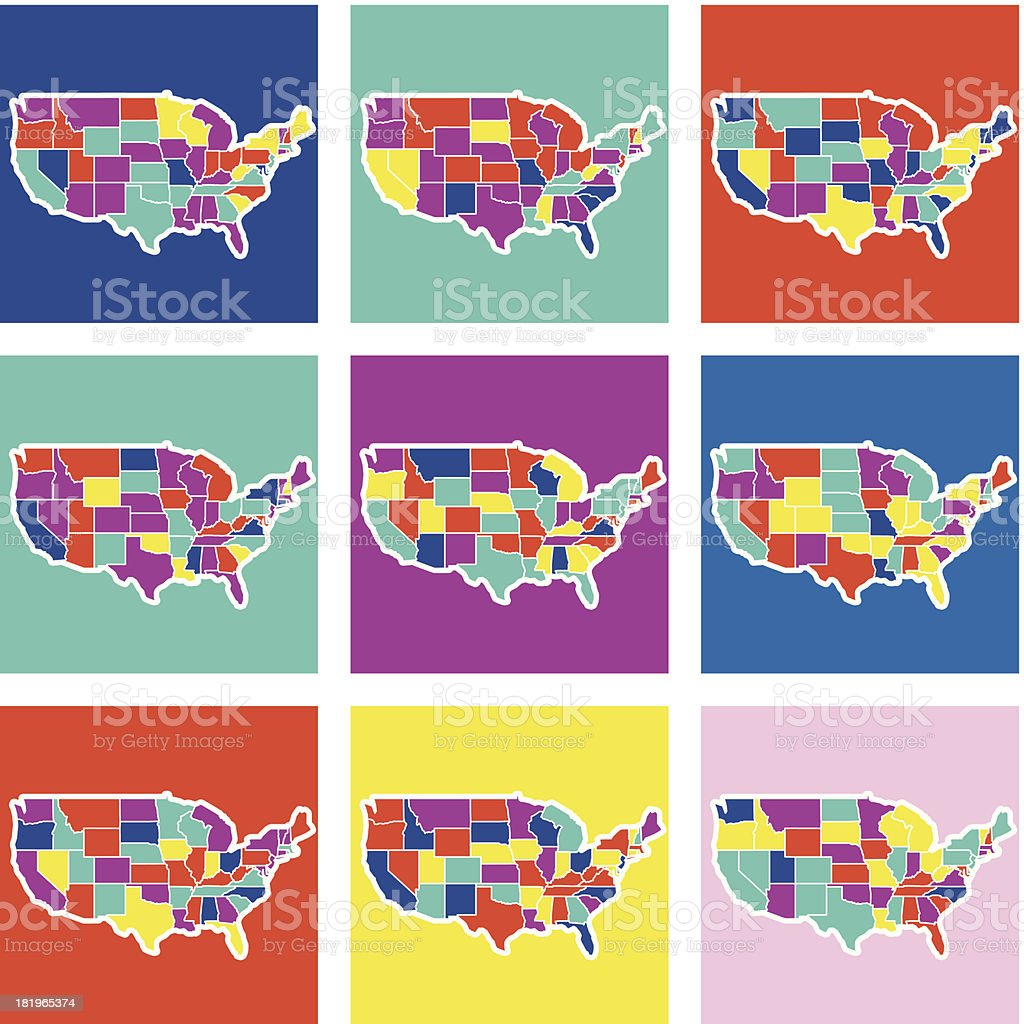 U.S.A. pop maps vector art illustration