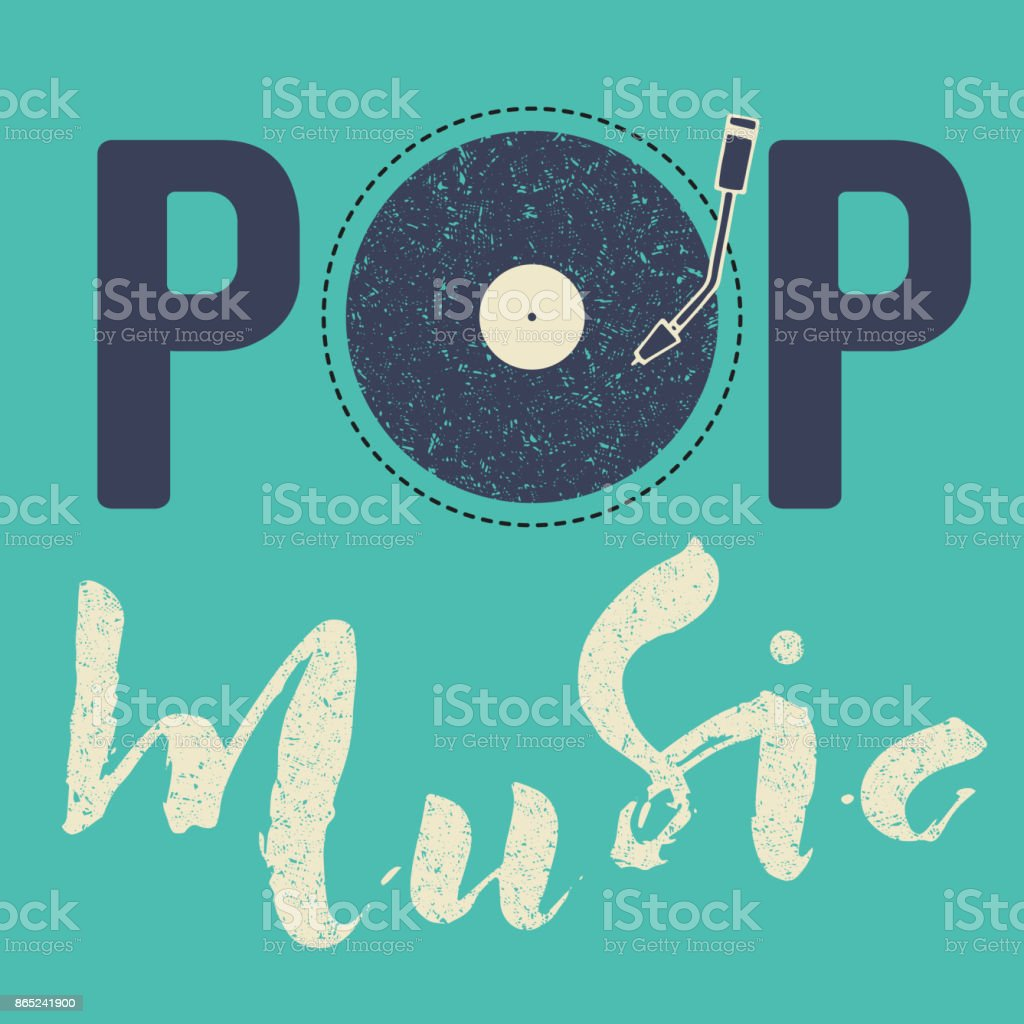 Pop music text art calligraphy letters. Illustration blue vintage background and vynil vector art illustration